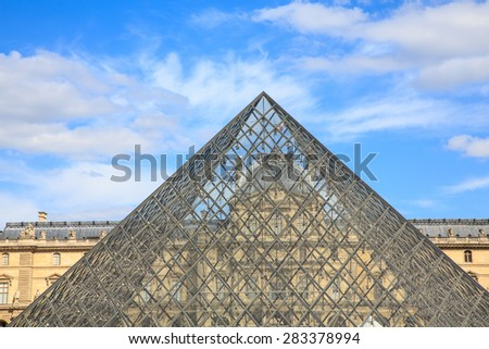 PARIS- JUNE 1: The Louvre Art Museum on june 1, 2015 in Paris. The history of this most famous museum goes back 800 years of continuous transformations from fortress to palace and today museum