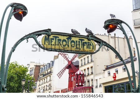 PARIS - JUNE 28: The station on moulin rouge, June 28, 2013. The Moulin Rouge is one of the symbol of Paris.