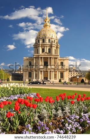 Paris, Les Invalides in spring time,  famous landmark, France - stock photo
