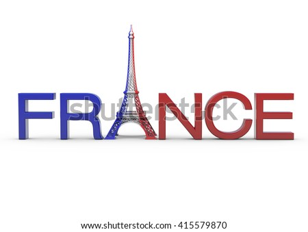 Paris Lettering With Eiffel Tower In French Flag Color Complete 3D Rendering