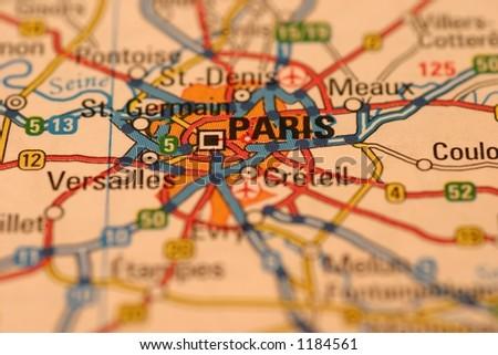 Paris Map - stock photo