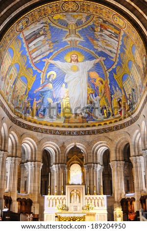 PARIS - MAR 1: Interior view of the Basilica of the Sacred Heart of Paris, commonly known as Sacre-coeur Basilica on March 1, 2014 in Paris, France.