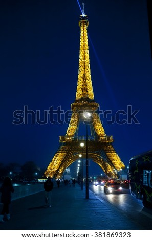 PARIS - MARCH 17: Eiffel Tower illuminated  in  March 17, 2012 in Paris, France.