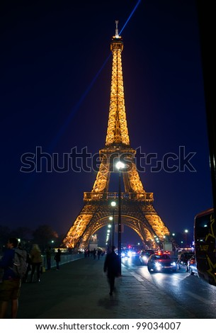PARIS - MARCH 31: Eiffel Tower in festive illumination to Birthday (it is open on March 31 1889), March 31, 2012 in Paris, France.