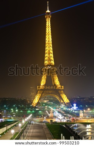 PARIS - MARCH 31: Eiffel Tower in festive illumination to Birthday (it is open on March 31 1889), view from the Trocadero, March 31, 2012 in Paris, France.