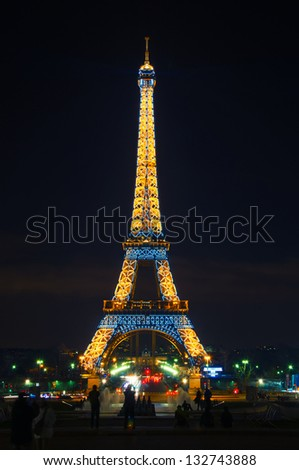 PARIS - MARCH 07 : Light Performance Show on March 07, 2013 in Paris. The Eiffel tower stands 324 metres (1,063 ft) tall. Monument was built in 1889, attendance is over 7 millions people.