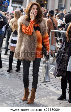 PARIS-MARCH 7, 2017. Street style during paris fashion week. Fur in Paris.