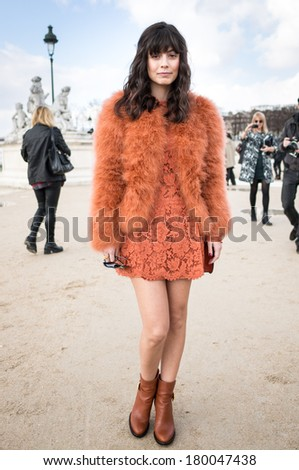 PARIS - MARCH 1, 2014: Stylish European woman with orange dress and skirt in the Tuileries Garden. Paris Fashion Week: Ready to Wear 2014/2015 is held from February 25 to March 5, 2014. - stock photo