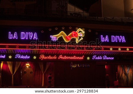PARIS - May 16: Adult nightclub, Moulin Rouge district. Photographed at night on May 16, 2013, Paris, France - stock photo