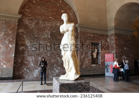 PARIS - MAY 3: Aphrodite of Milos At the Louvre Museum, 2013 Paris, France. Louvre is the biggest Museum displayed over 60,000 sq.M. of exhibition space and very popular culture site in the world - stock photo