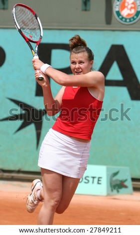 PARIS - MAY 21: Belarus professional tennis player EKATERINA DZEHALEVICH during her match at French Open, Roland Garros on May 21, 2008 in Paris, France. - stock photo