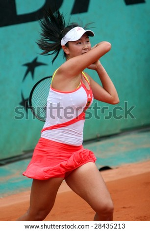 PARIS - MAY 26: China's SHUAI PENG during the match at French Open, Roland Garros tennis tournament, May 26, 2008 in Paris, France - stock photo