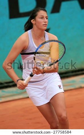 PARIS - MAY 22: Colombian professional tennis player Mariana Duque Marino during her match at French Open, Roland Garros on May 22, 2008 in Paris, France. - stock photo
