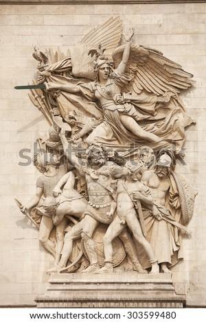 PARIS, MAY 17, 2013: Details of sculptures adorning the Arc de Triomphe, Paris, France - stock photo