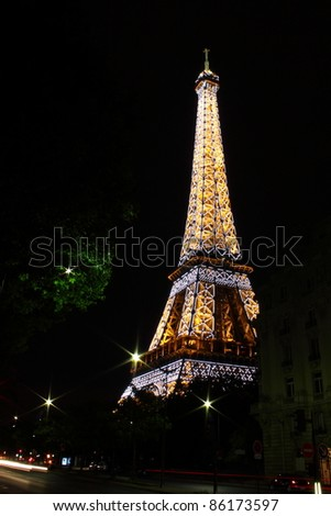 PARIS - May 30: Eiffel Tower at night on May 30, 2011. The Eiffel tower is the most visited monument of France with about 6 million visitors every year.