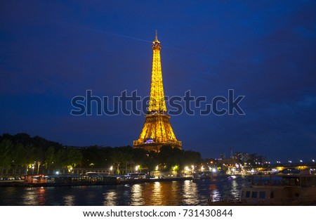 Paris - May 27, 2017. Eiffel Tower in Paris, France