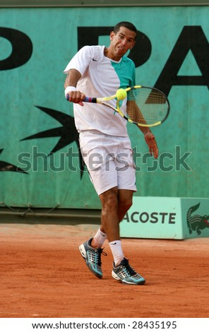 PARIS - MAY 20: Israel's professional tennis player Harel Levy during the match at French Open, Roland Garros, May 20, 2008 in Paris, France. - stock photo