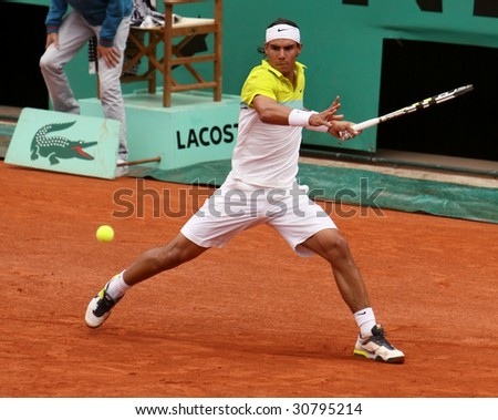 PARIS - MAY 23: Rafael Nadal of Spain during the match at French Open, Roland Garros on May 23, 2009 in Paris, France.