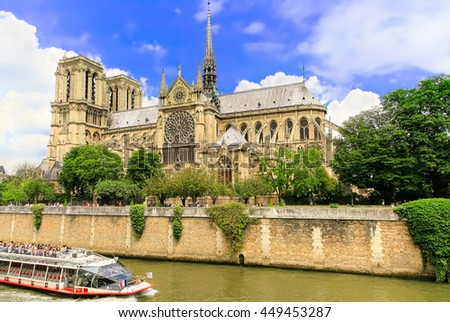 PARIS - MAY 28, 2016:The Cathedral of Notre Dame on river Seina is one of the largest and  most well-known church buildings in the world.