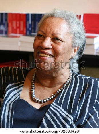 PARIS - MAY 12: Toni Morrison, a Nobel Prize-winning American author, editor, and professor during the autograph session in the L'arbre a Lettres bookstore on May, 12, 2009 in Paris, France - stock photo