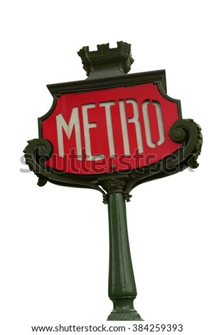 Paris metro sign isolated over white background. clipping path included.