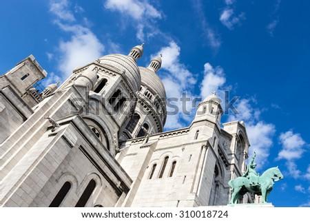 Paris - Montmartre - Basilique du Sacré-Coeur - Basilica of the Sacred Heart of Jesus - stock photo