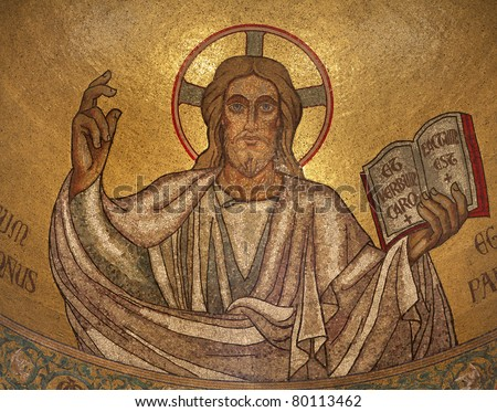 Paris - mosaic of Jesus from main apsis of Pastor bonus church