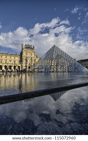 PARIS - NOV 21: Glass Pyramid at the Louvre Museum on November 21, 2011. The museum was inaugurated in 1739. However, due to some infrastructural problems, it was shut down for 5 years - stock photo
