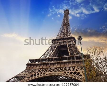 Paris, Nov 27: The Eiffel tower, view from below.
