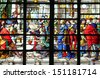 PARIS - NOV 07, 2012: Wisdom of Solomon: Judgement of Solomon, stained glass, church is dedicated Gervasius and Protasius is one of the oldest in Paris, Paris on Nov 07, 2012 - stock photo