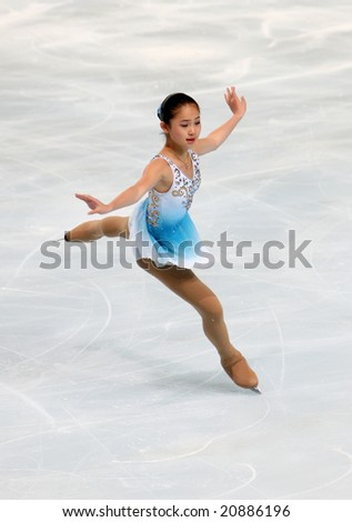 PARIS - NOVEMBER 14: American figure skater Caroline ZHANG during the Ladies short skating event of the Eric Bompard Trophy November 14, 2008 at Palais-Omnisports de Bercy, Paris, France.