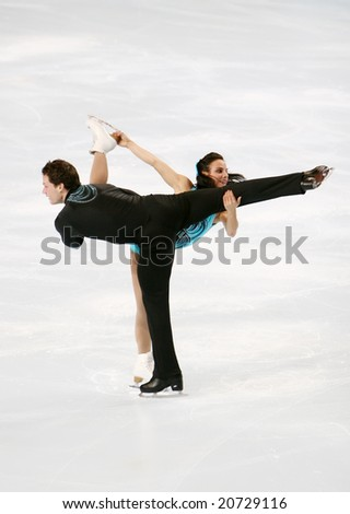 PARIS - NOVEMBER 14: Canada's Meagan DUHAMEL and Craig BUNTIN during the pairs short program event of the Eric Bompard trophy, Grand Prix figure skating series at Paris-Bercy, 14 November 2008.