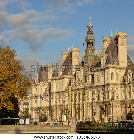 PARIS NOVEMBER 14 2017 Cityhall Of Paris In French Renaissance Style On A