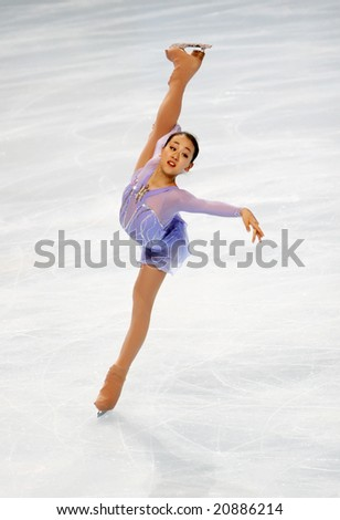 PARIS - NOVEMBER 14: Japanese figure skater Mao Asada during the Ladies short skating event of Eric Bompard Trophy November 14, 2008 at Palais-Omnisports de Bercy, Paris, France.