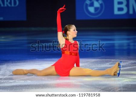 PARIS - NOVEMBER 18: Julia LIPNITSKAIA of Russia performs at the ISU Grand Prix Eric Bompard Trophy Gala event on November 18, 2012 at Palais-Omnisports de Bercy, Paris, France. - stock photo