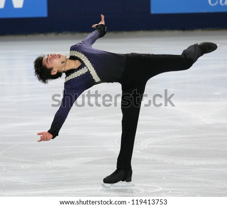 PARIS - NOVEMBER 16: Nan SONG of China performs at men's short skating event at Eric Bompard Trophy on November 16, 2012 at Palais-Omnisports de Bercy, Paris, France.