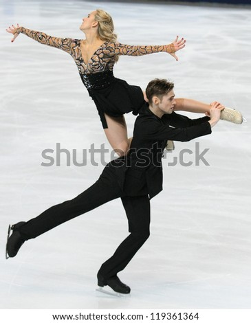 PARIS - NOVEMBER 17: Pernelle CARRON / Lloyd JONES of France perform free dance at the ISU Grand Prix Eric Bompard Trophy on November 17, 2012 at Palais-Omnisports de Bercy, Paris, France.
