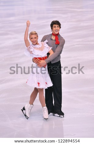 PARIS - NOVEMBER 16: Piper GILLES / Paul POIRIER of Canada perform at ice dance short dance event at Eric Bompard Trophy on November 16, 2012 at Palais-Omnisports de Bercy, Paris, France. - stock photo