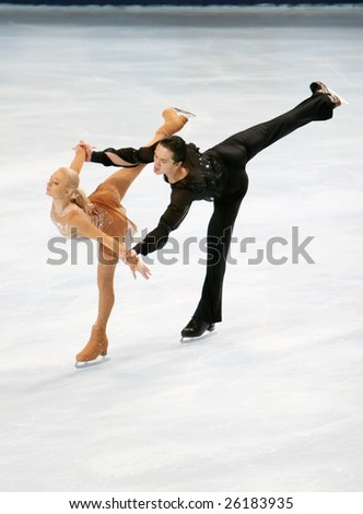 PARIS - NOVEMBER 14: Russia's Maria MUKHORTOVA  and  Maxim TRANKOV at the Eric Bompard figure skating trophy on November 14, 2008 at the Palais-Omnisports de Bercy in Paris, France - stock photo