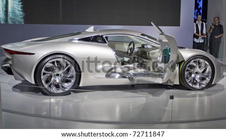 PARIS - OCT 10: Jaguar new concept car CX-75 on display at the Paris Motor Show at Porte de Versailles on October 10, 2010 in Paris. - stock photo