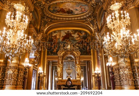 PARIS  OCTOBER 02 : An interior view of Opera de Paris, Palais Garnier, It was built from 1861 to 1875 for the Paris Opera house an is shown on OCTOBER 02, 2010 in Paris.