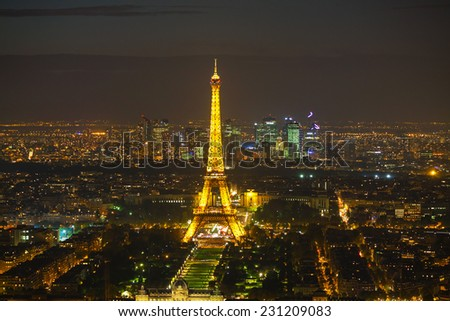 PARIS - OCTOBER 11: Paris cityscape with Eiffel tower on October 11, 2014 in Paris, France. It's an iron lattice tower located on the Champ de Mars and named after the engineer Gustave Eiffel.
