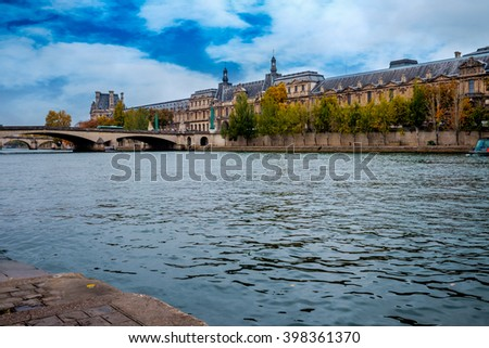 PARIS - October 25:Seine River in Paris, France in autumn.  Paris is one of the most visited cities in the world with about 28 million of visitors every year. - stock photo