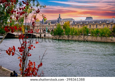 PARIS - October 25:Seine River in Paris, France in autumn.  Paris is one of the most visited cities in the world with about 28 million of visitors every year./Seine River in Paris, France in autumn - stock photo