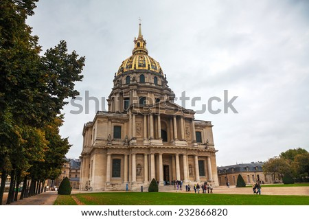 PARIS - OCTOBER 9: The Army Museum on October 9 in Paris, France. The Musee de l'Armee (Army Museum) is a national military museum of France located at Les Invalides in the 7th arrondissement of Paris - stock photo
