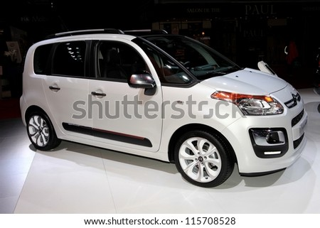 PARIS - OCTOBER 14: The Citroen C3 Picasso displayed at the 2012 Paris Motor Show on October 14, 2012 in Paris - stock photo