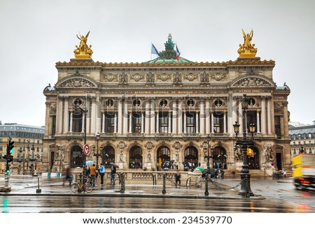 PARIS - OCTOBER 11: The Palais Garnier (National Opera House) on October 11, 2014 in Paris, France. It's is the most famous opera house in the world, a symbol of Paris. - stock photo