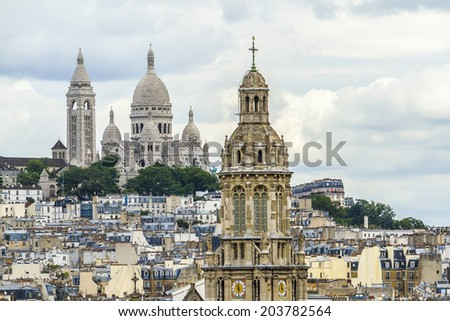 Paris Panorama. Cathedral Sacre-Coeur in the background. France