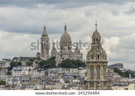Paris Panorama. Cathedral Sacre-Coeur in the background. France.