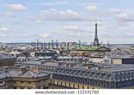 Paris Panorama. Eiffel Tower in the background. France - stock photo